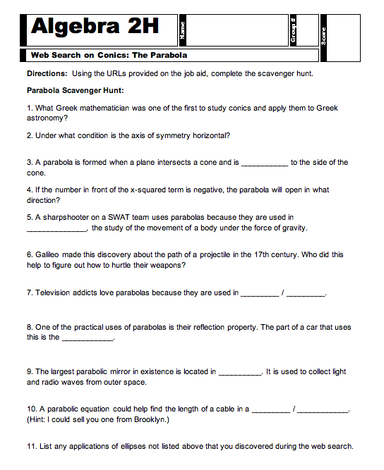 Step 5 Conic Applications in the Real World – Parabola Worksheets